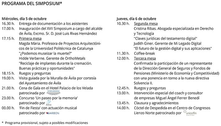 Programa Simposium Revista Funeraria