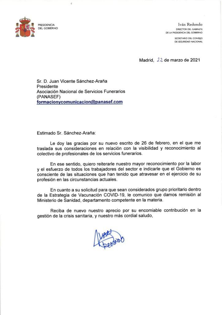 Respuesta Gabinete de la Presidencia del Gobierno